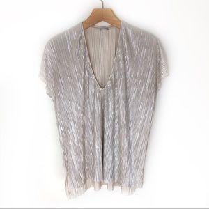 Zara Silver Metallic Crinkle Top Size L